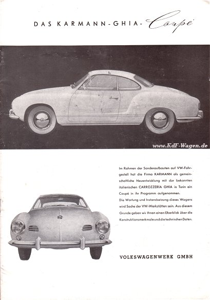 VW - 1955 - Das Karmann Ghia Coupé -  8-55 / 2 TN 214a - Repro - [1484]-1