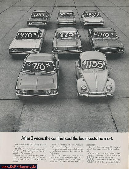VW - 1968 - After 3 years, the car that cost the least costs the most. - [7757]-1