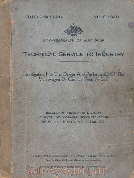 VW - Investigation into the design and performance of the Volkswagen or german people´s car - no - [9163]-1
